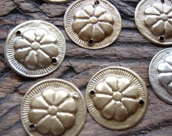 10 x tarnished with a sheen gold colour brass round metal Turkoaman coin discs with two holes