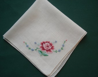 Vintage Handkerchief/Hankie  White with Fancy Pink, Blue & Green Embroidered Design - Ruth