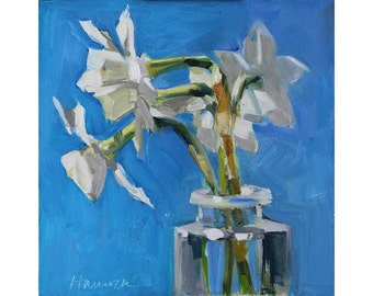Six White Jonquil on Blue