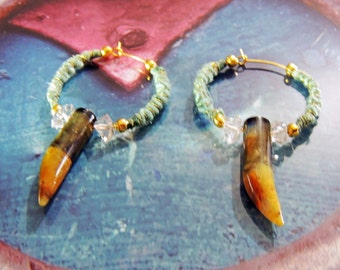 Creole Yellow Opal Labradorites, Herkimer diamond and raw silk