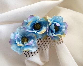 Bridal Comb With Blue Silk Flowers