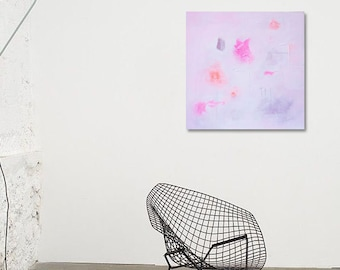 """Original Abstract Painting 15,7 in x 15,7 in """"Aurore"""" White, Pink. Minimalist"""