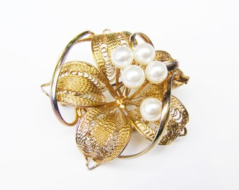 """Vintage Flower Brooch in Gold Tone Cannetille, with Post Set """"Pearls"""""""