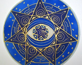 Blue chakra mandala art,spiritual gift, third eye mandala, chakra mandala,chakra art, reiki art, yoga art, spiritual art, metaphysical, ene