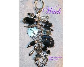 Witch Charm Clip - Black Tourmaline, Black Onyx