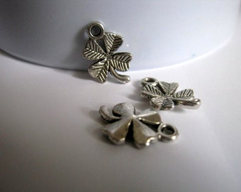 10 Four Leaf Clover Charms Antique Silver, 11x15mm, Jewelry Supplies