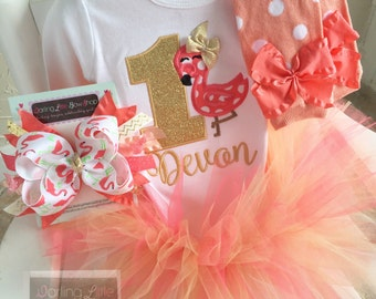 FREE SHIPPING - Flamingo Birthday Outfit in Coral and Gold  -- Fancy Flamingo -- bodysuit, leg warmers, tutu, bow headband in coral and gold