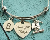 college graduation gif, for graduate, high school graduation gift for her, Trust your wings bracelet, senior student gift, congrats gift