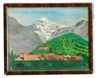 Antique Folk Art Landscape Oil Painting