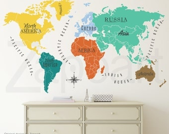 World Map w/ Continents & Ocean Names Wall Decal
