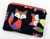 Red Orange Fox Coin Purse, Zipper Pouch, Small Wallet, Gadget Case, Accessory Bag, Gift idea, Padded