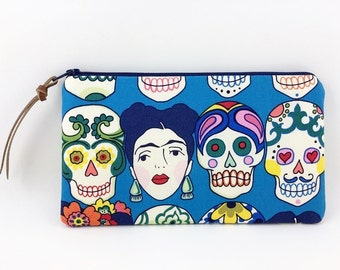 Skulls Accessory Pouch, Small Clutch Purse, Wallet Pouch, Pencil Case, Padded, Royal Blue, Gift idea