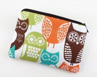 Owls Coin Purse, Small Gadget Case, Zipper Card Pouch, Gift idea, Wallet Pouch, Padded