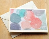 Watercolor Circle Greeting Cards, Set of 6, Blank Cards, Thinking of You, Just Because, Blank Card Set