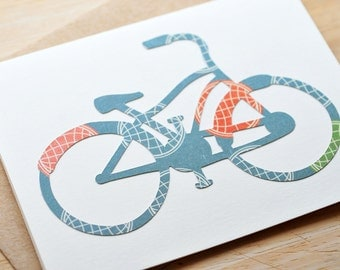 Bicyle Greeting Cards, Set of 3, Blank Cards, Thinking of You, Just Because, Thank You Card