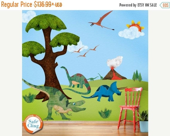 20% OFF SALE Dinosaur Wall Stickers Decals for Boys Room Wall Mural