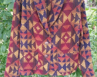 Gorgeous 80s 90s Southwest Aztec Blazer Jacket Size Large