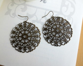 Large boho earrings-Large antique bronze filigree earrings- Round filigree earrings- Lace earrings- Circle earrings- - Filigree earrings