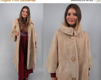 On Sale - Vintage 60s Mod Faux Fur Coat, Long Faux Fur Coat, Midi Coat, Plush Faux Fur Coat, Boho Coat, Bohemian Δ size: lg