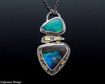 Fire & Ice -  Boulder Opal Sterling Silver Necklace
