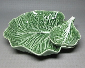 Borallo Pinhiero chip and dip bowl cabbage leaf shape