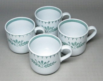 Arabia green thistle coffee cups set of four