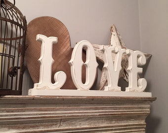 Painted Wooden Letters - Circus Style - LOVE - on stand, standing - various colours & finishes