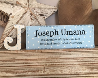 Wooden Christening Sign and Letter - Wooden, hand-painted, free-standing, personalised
