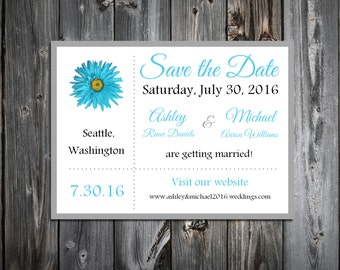 Malibu Blue Daisy Wedding Save the Date Cards Invitations