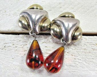 Vintage Sterling Silver Earrings, Designer FREDERIC Jean DUCLOS, Amber Teardrop Earrings, Runway Statement Earrings, 80s Fine Estate Jewelry