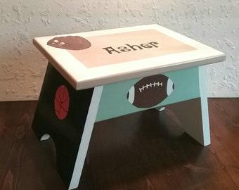 Kids Sports Furniture - Baseball Footstool - Football Step Stool - Childrens Step Stool - Basketball Stool - Soccer Footstool - Step Stool