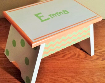Step Stool or Foot Stool-White with Lt. Green and Coral-Name Personalization and Hearts