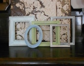 Empty Gallery Frames -  Rustic Shabby Chic - 5 Piece Wall Decor Collection in Sand, Aqua, Blue,  Grey and Green