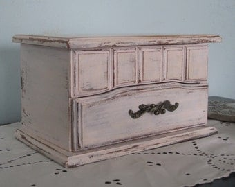 Shabby Chic Wood Jewelry Box - Vintage Mele Trinket Chest up Cycled & Distressed in Petal Pink