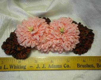 Pink Mums Ribbon Flower Millinery Applique