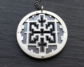 Shipibo Pattern Pendant - sterling silver - Handcrafted Sacred Geometry Jewellery