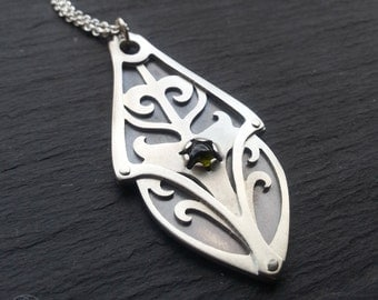 Geometric Flow Pendant - handcut sterling silver and green tourmaline.