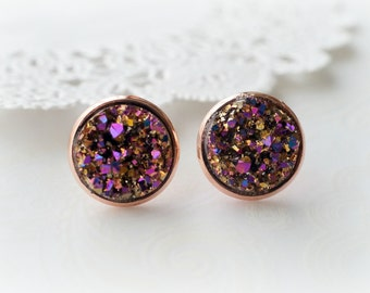 Rose Gold and Magenta Faux Druzy Stud Earrings