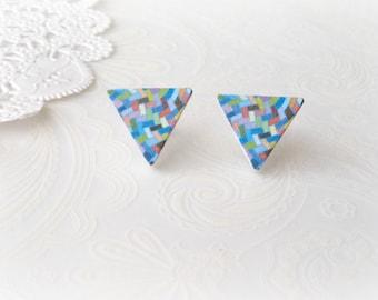 Wooden Blue Geometric Triangle Stud Earrings