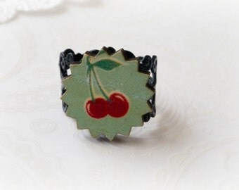 Black Filigree with Wooden Cherries Ring