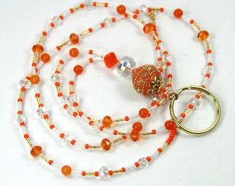 ORANGE BEAUTY - Beaded lanyard, Beaded Badge Holder, Orange Lanyard