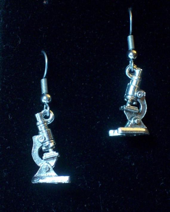 Gorgeous Geekery Microscope Earrings - Chemistry Jewelry, Science Earrings, Biology Gift, Teacher, Laboratory, Physics - Great Gift!