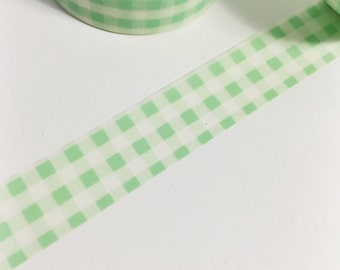 SALE Thick Mint Green Plaid Washi Tape 11 yards 10 meters 15mm