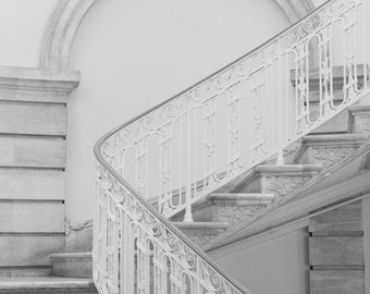 New York Architecture Photography, NYC Black and White Print, NYC Art, Urban Architecture Art, Staircase Wall Art, Moving Up