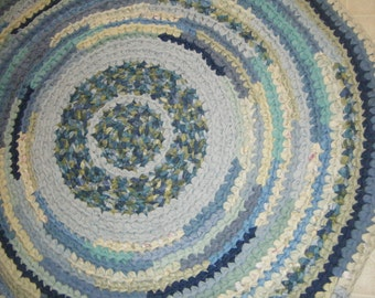 Blue and Green 4 foot Rag Rug - for Etsy