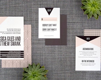 "Printable and Customizable DIY Wedding Invitation Suite ""Graphic Triangle"""