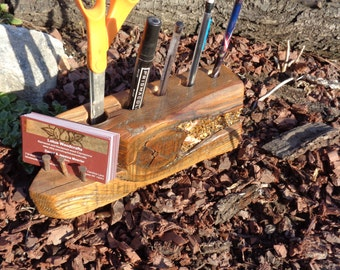 Reclaimed Barn wood Beam Desk Organizer for pens pencils makeup or tools