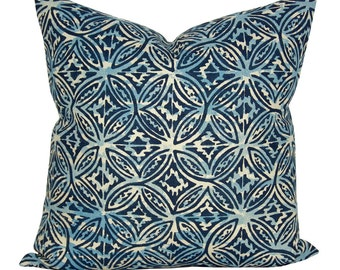 Casita pillow cover in Midnight on Natural Linen