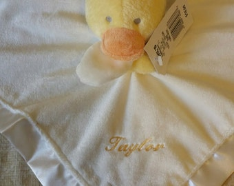 Personalized Embroidered Stuffed Animal Duck Blanket for baby girl or boy