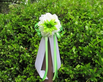 10 White Lime Green Dahlia Rose Hydrangea Flower Ball Pew Bows Aisle Chair Arch Wedding Decorations Bridal
